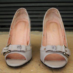 N.Y.L.A Gray peep toe heels